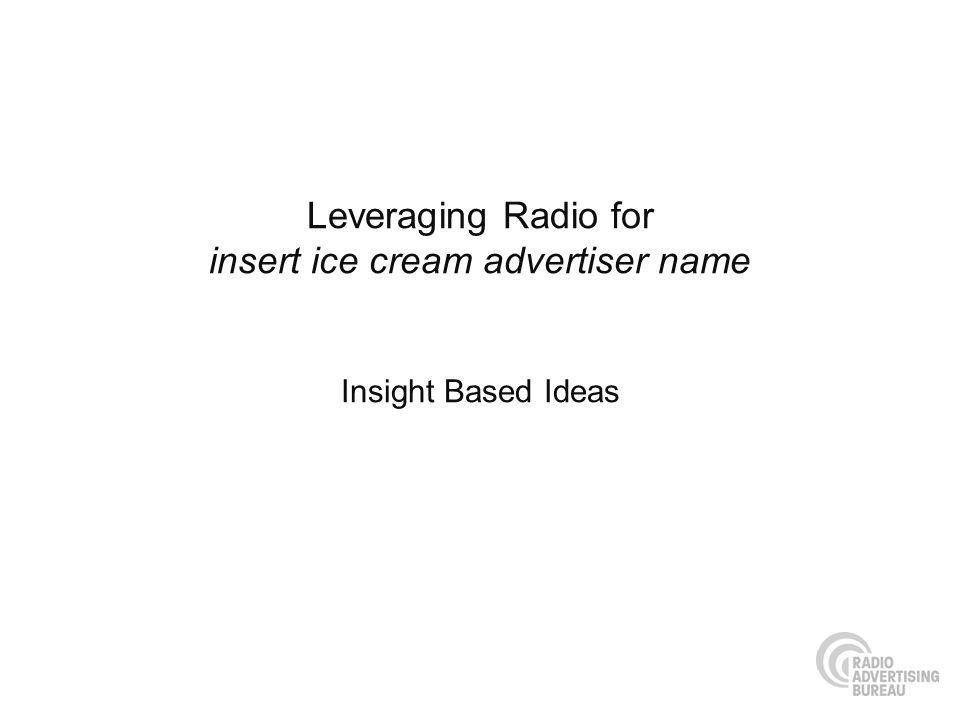 Leveraging Radio for insert ice cream advertiser name Insight Based Ideas