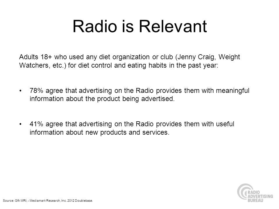 Radio is Relevant Adults 18+ who used any diet organization or club (Jenny Craig, Weight Watchers, etc.) for diet control and eating habits in the past year: 78% agree that advertising on the Radio provides them with meaningful information about the product being advertised.