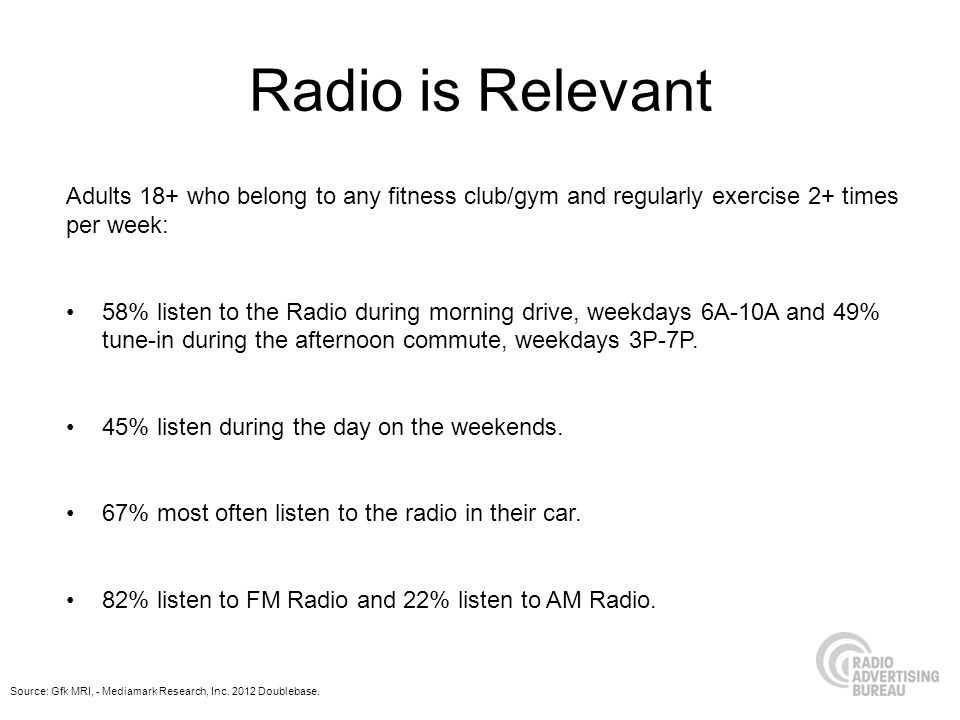 Radio is Relevant Adults 18+ who belong to any fitness club/gym and regularly exercise 2+ times per week: 58% listen to the Radio during morning drive, weekdays 6A-10A and 49% tune-in during the afternoon commute, weekdays 3P-7P.