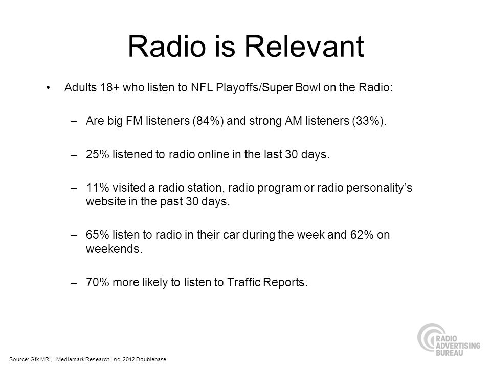Radio is Relevant Adults 18+ who listen to NFL Playoffs/Super Bowl on the Radio: –Are big FM listeners (84%) and strong AM listeners (33%).