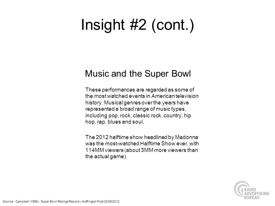 Insight #2 (cont.) These performances are regarded as some of the most watched events in American television history.