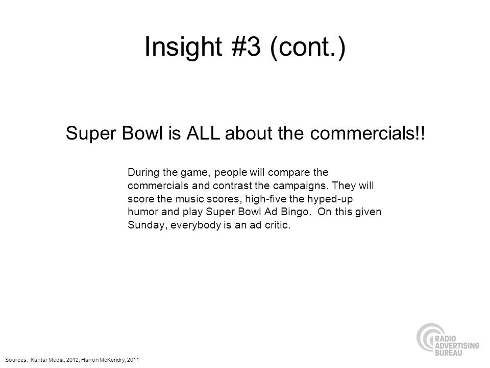 Insight #3 (cont.) During the game, people will compare the commercials and contrast the campaigns. They will score the music scores, high-five the hy