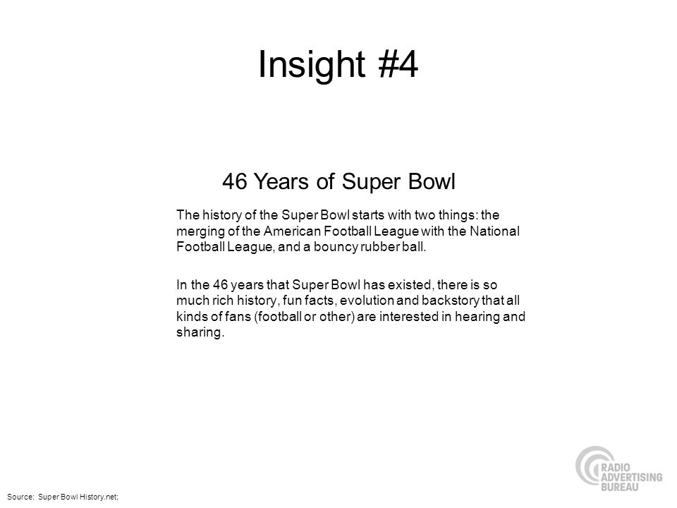 Insight #4 The history of the Super Bowl starts with two things: the merging of the American Football League with the National Football League, and a bouncy rubber ball.