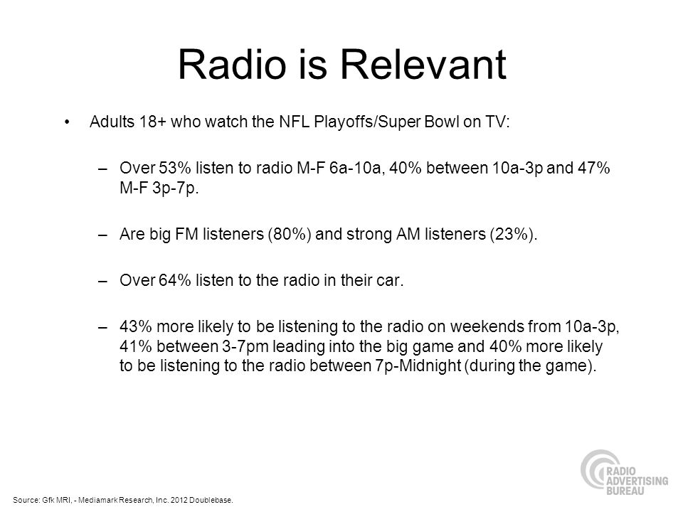 Radio is Relevant Adults 18+ who watch the NFL Playoffs/Super Bowl on TV: –Over 53% listen to radio M-F 6a-10a, 40% between 10a-3p and 47% M-F 3p-7p.