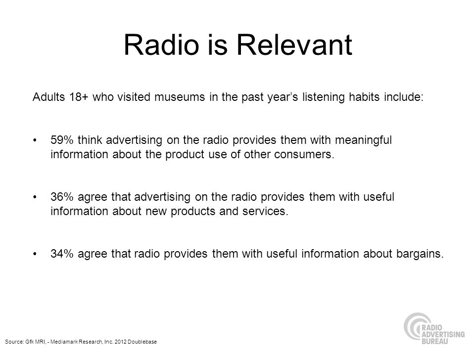 Radio is Relevant Adults 18+ who visited museums in the past years listening habits include: 59% think advertising on the radio provides them with meaningful information about the product use of other consumers.