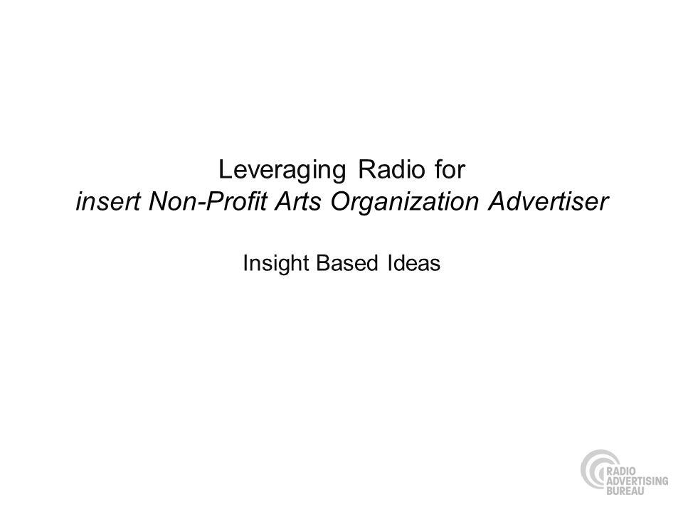 Leveraging Radio for insert Non-Profit Arts Organization Advertiser Insight Based Ideas