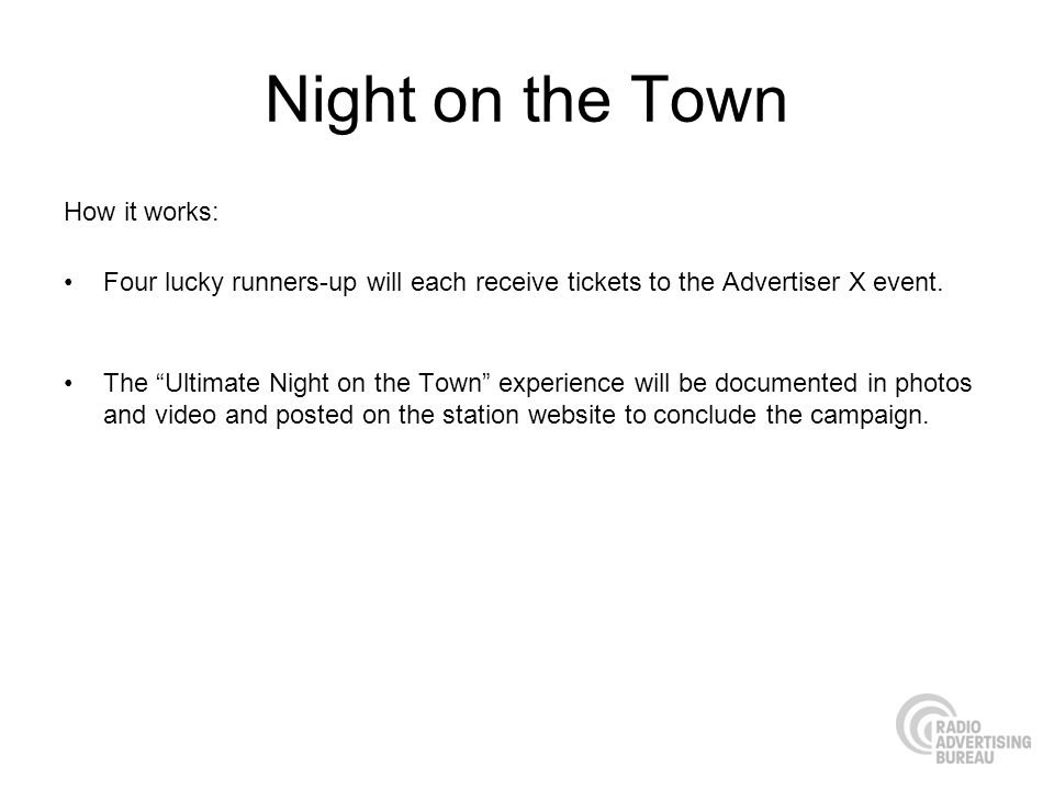 Night on the Town How it works: Four lucky runners-up will each receive tickets to the Advertiser X event.