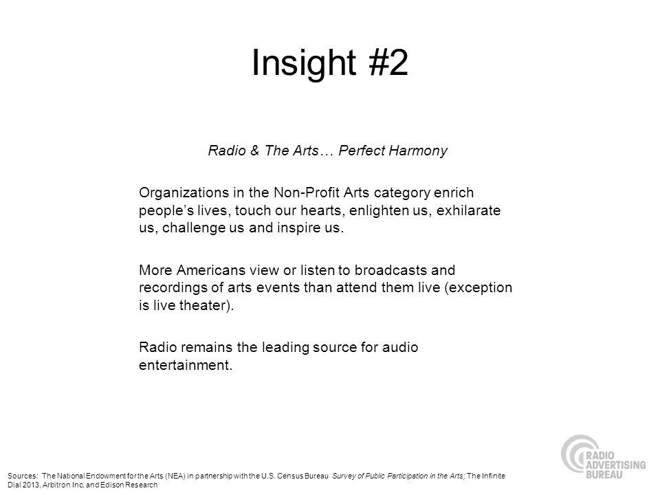 Insight #2 Radio & The Arts… Perfect Harmony Organizations in the Non-Profit Arts category enrich peoples lives, touch our hearts, enlighten us, exhilarate us, challenge us and inspire us.