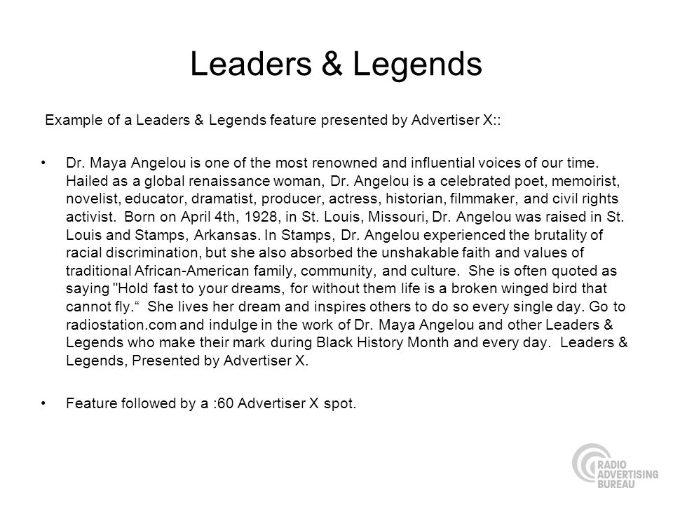 Leaders & Legends Example of a Leaders & Legends feature presented by Advertiser X:: Dr.