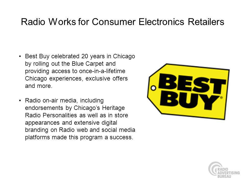 Radio Works for Consumer Electronics Retailers Best Buy celebrated 20 years in Chicago by rolling out the Blue Carpet and providing access to once-in-a-lifetime Chicago experiences, exclusive offers and more.