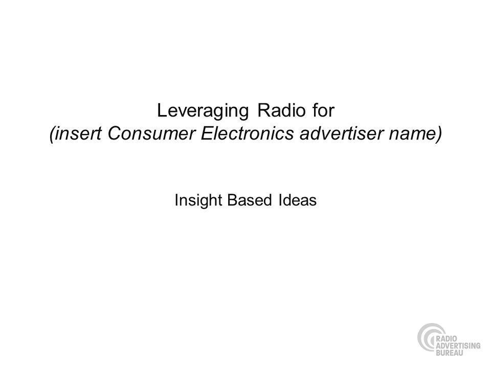 Leveraging Radio for (insert Consumer Electronics advertiser name) Insight Based Ideas