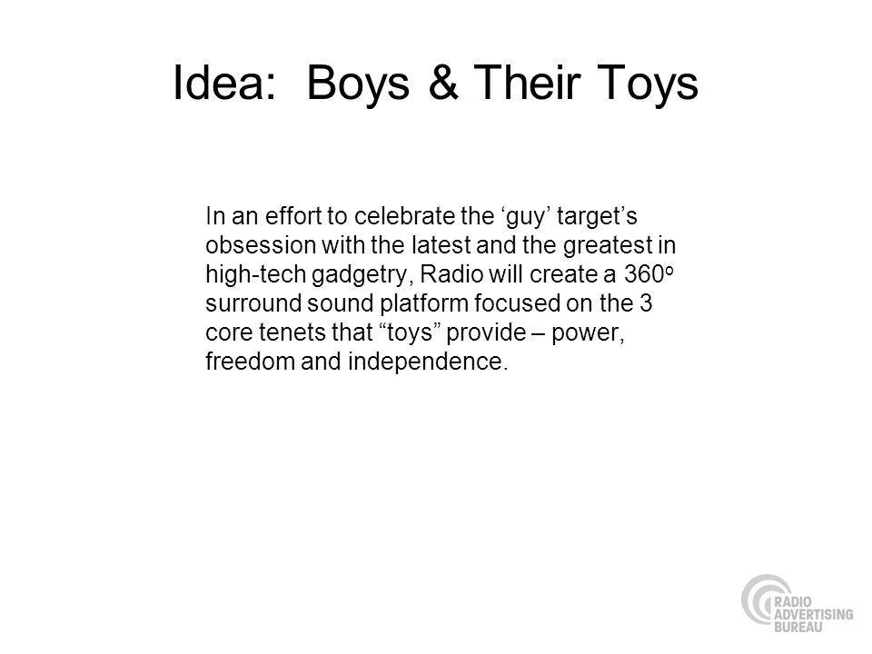 Idea: Boys & Their Toys In an effort to celebrate the guy targets obsession with the latest and the greatest in high-tech gadgetry, Radio will create
