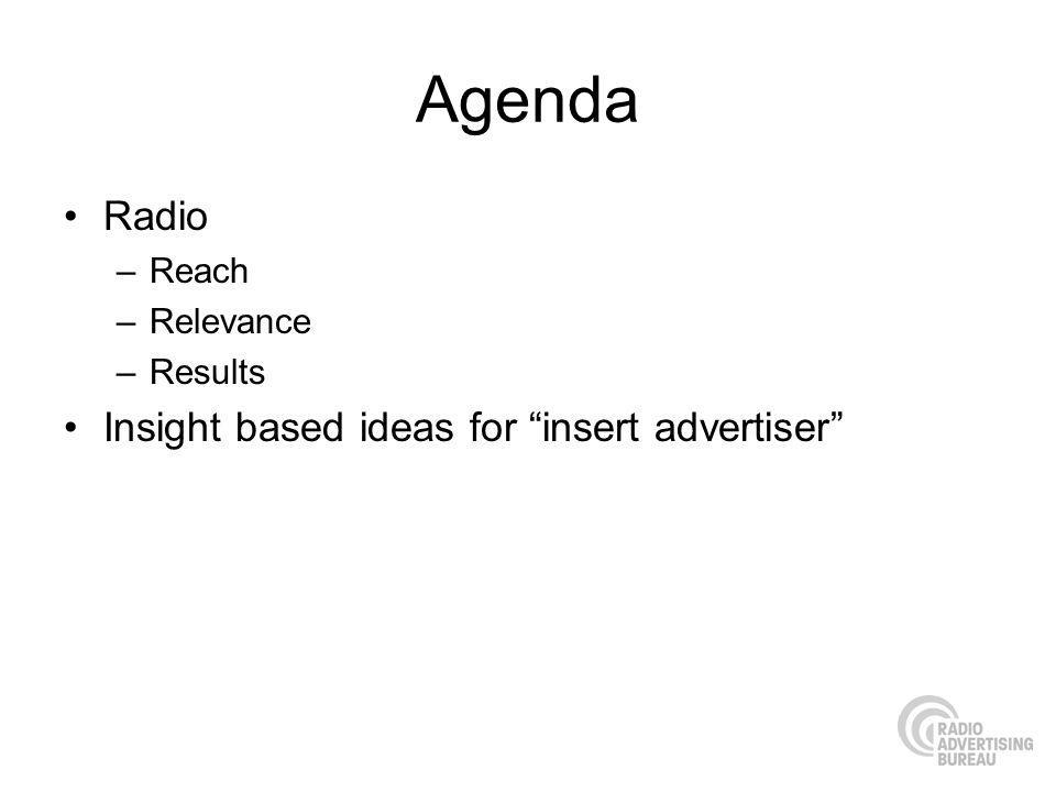 Agenda Radio –Reach –Relevance –Results Insight based ideas for insert advertiser