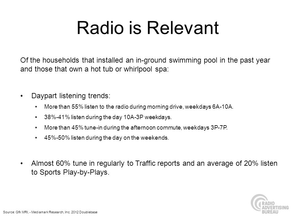 Radio is Relevant Of the households that installed an in-ground swimming pool in the past year and those that own a hot tub or whirlpool spa: 63%-70% most often listen to the radio in their car.