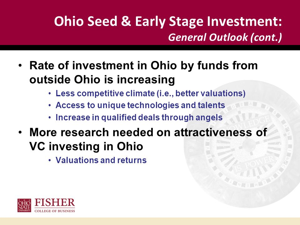 Ohio Seed & Early Stage Investment: General Outlook (cont.) Rate of investment in Ohio by funds from outside Ohio is increasing Less competitive clima