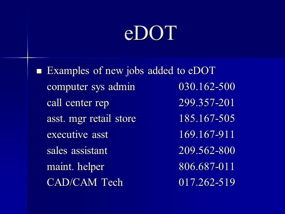 eDOT Examples of new jobs added to eDOT Examples of new jobs added to eDOT computer sys admin030.162-500 call center rep299.357-201 asst. mgr retail s