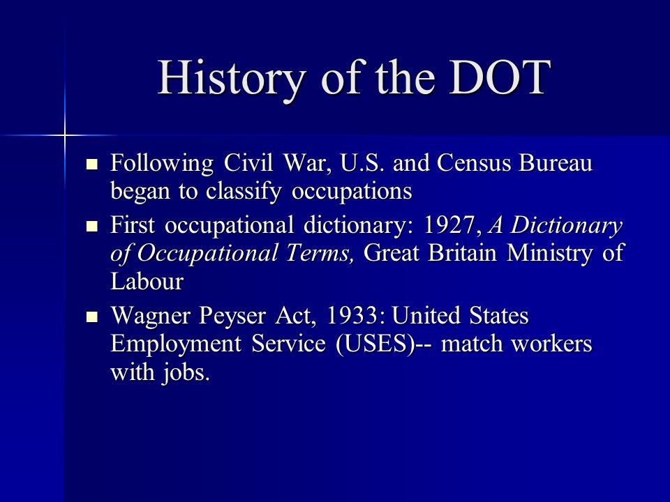 History of the DOT Following Civil War, U.S.