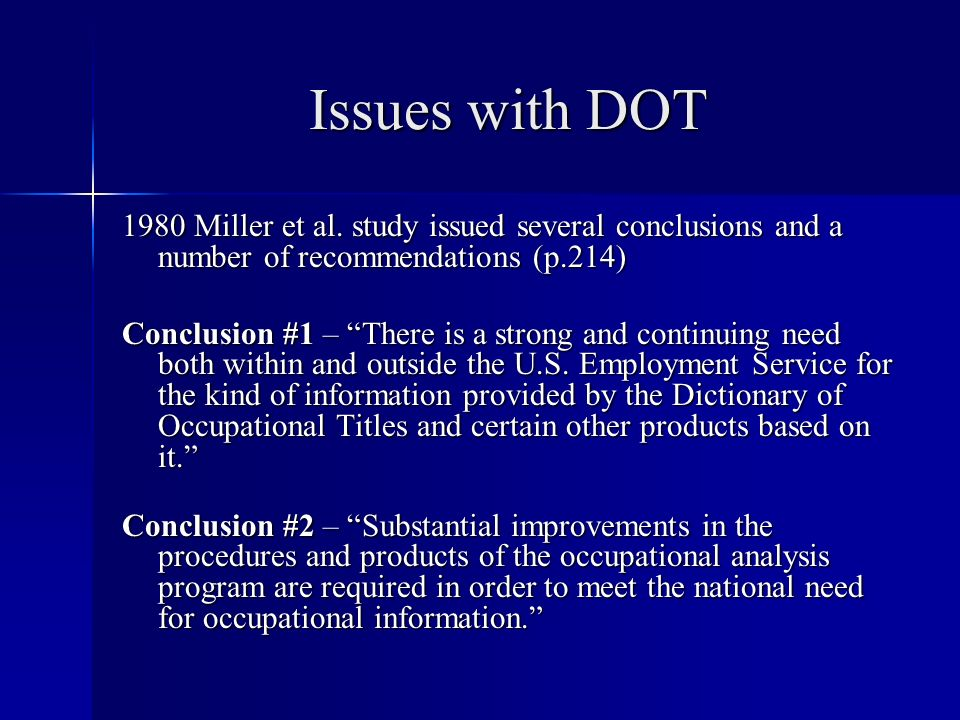 Issues with DOT 1980 Miller et al.