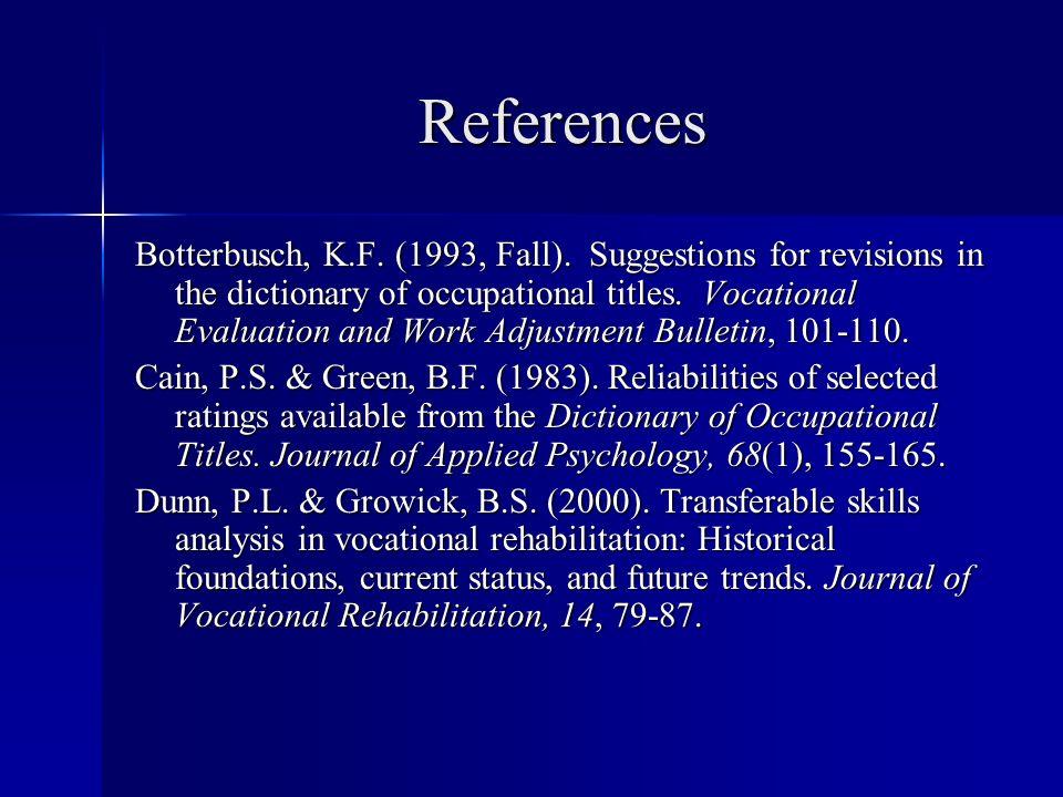 References Botterbusch, K.F. (1993, Fall).
