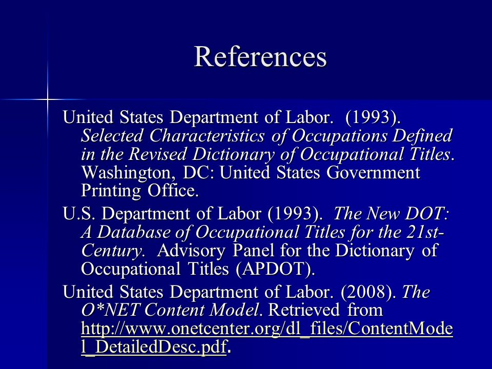 References United States Department of Labor. (1993).