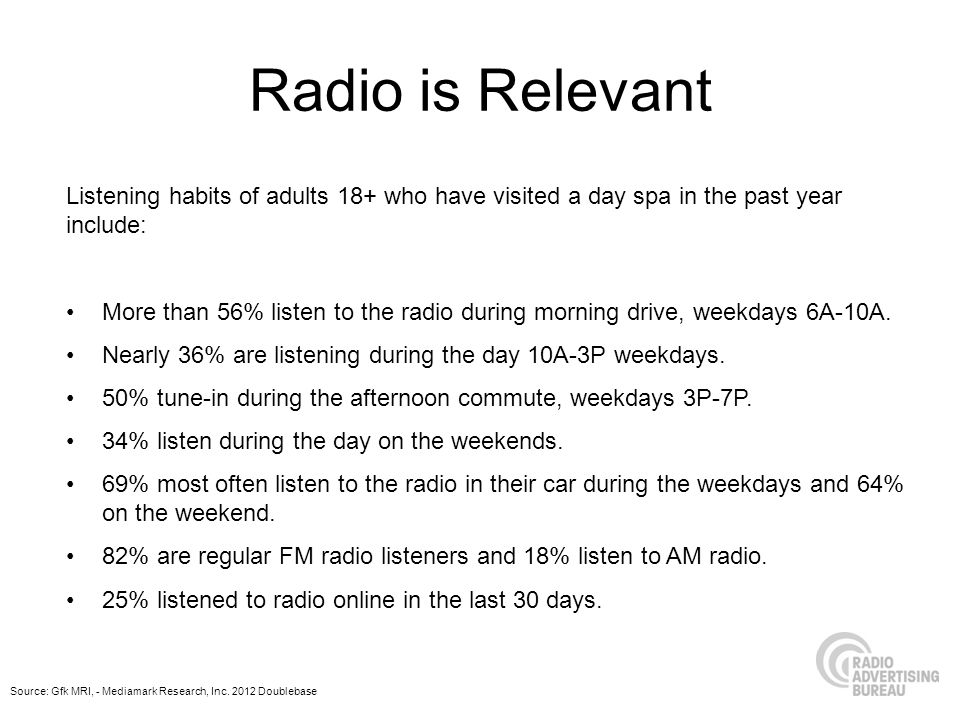 Radio is Relevant Listening habits of adults 18+ who have visited a day spa in the past year include: More than 56% listen to the radio during morning