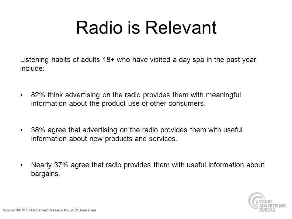 Radio is Relevant Listening habits of adults 18+ who have visited a day spa in the past year include: 82% think advertising on the radio provides them with meaningful information about the product use of other consumers.