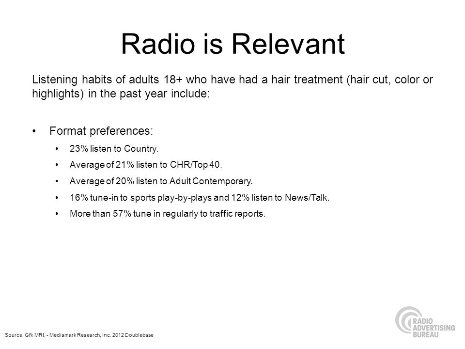 Radio is Relevant Listening habits of adults 18+ who have had a hair treatment (hair cut, color or highlights) in the past year include: Format preferences: 23% listen to Country.
