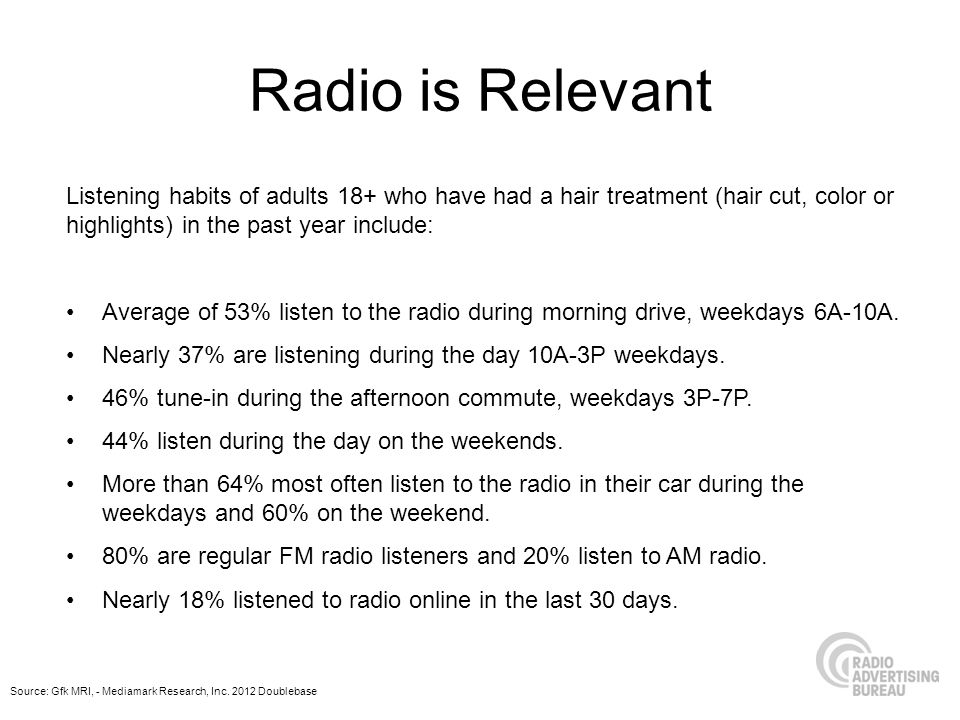 Radio is Relevant Listening habits of adults 18+ who have had a hair treatment (hair cut, color or highlights) in the past year include: Average of 53% listen to the radio during morning drive, weekdays 6A-10A.