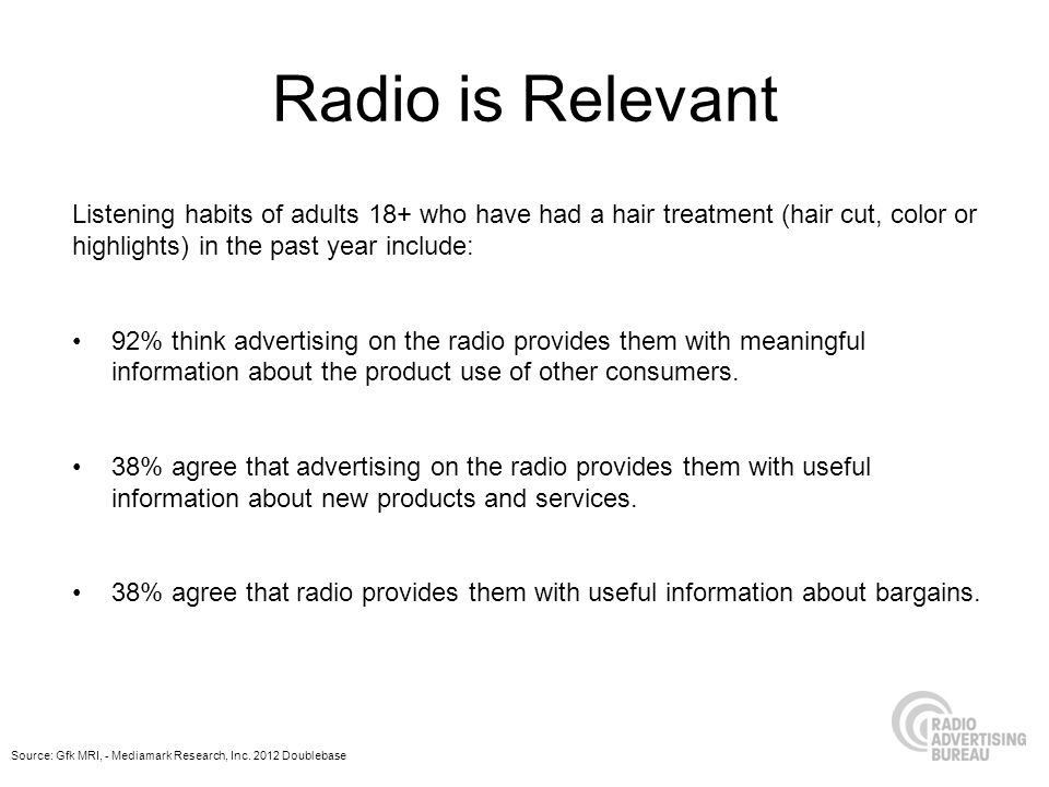 Radio is Relevant Listening habits of adults 18+ who have had a hair treatment (hair cut, color or highlights) in the past year include: 92% think advertising on the radio provides them with meaningful information about the product use of other consumers.