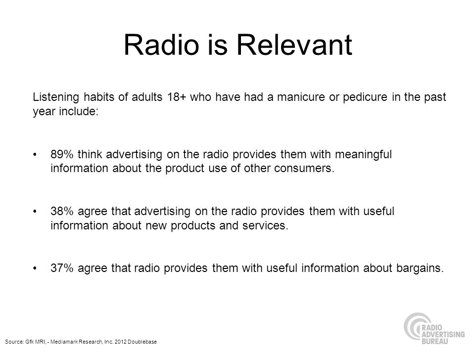 Radio is Relevant Listening habits of adults 18+ who have had a manicure or pedicure in the past year include: 89% think advertising on the radio provides them with meaningful information about the product use of other consumers.