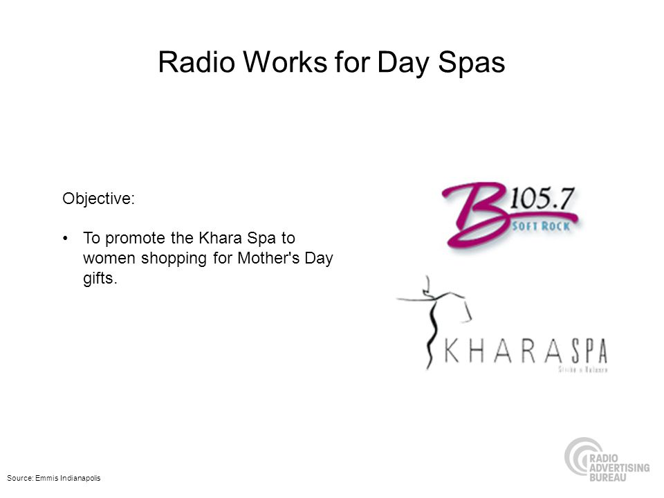 Radio Works for Day Spas Objective: To promote the Khara Spa to women shopping for Mother's Day gifts. Source: Emmis Indianapolis