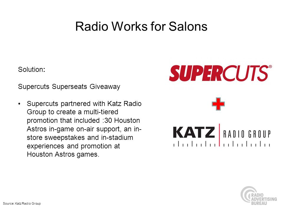 Radio Works for Salons Solution: Supercuts Superseats Giveaway Supercuts partnered with Katz Radio Group to create a multi-tiered promotion that inclu