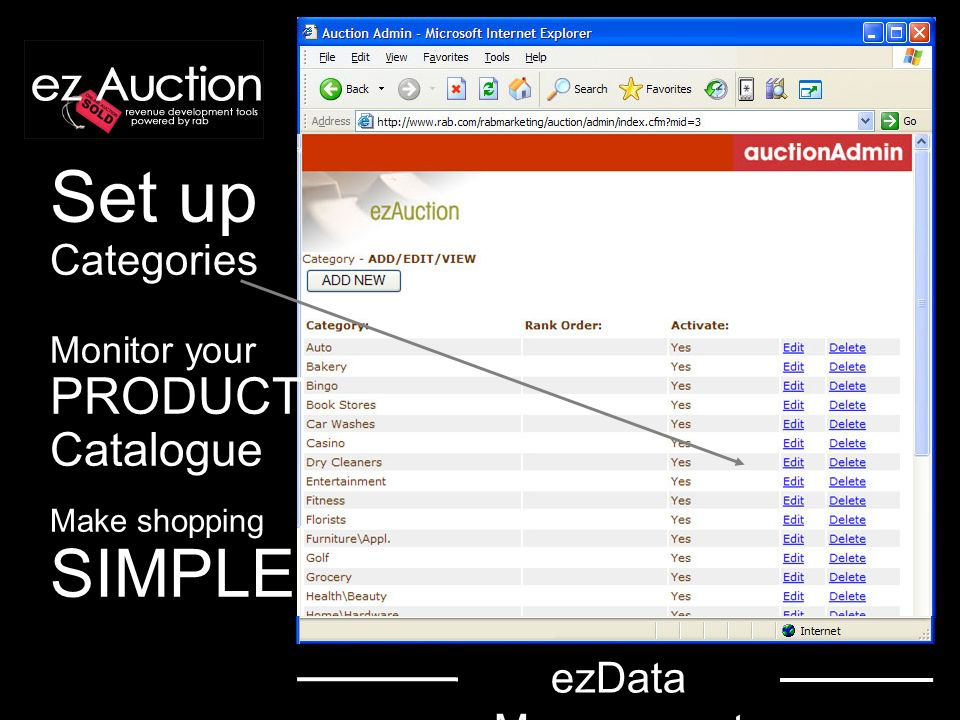 Set up Categories Monitor your PRODUCT Catalogue Make shopping SIMPLE ezData Management