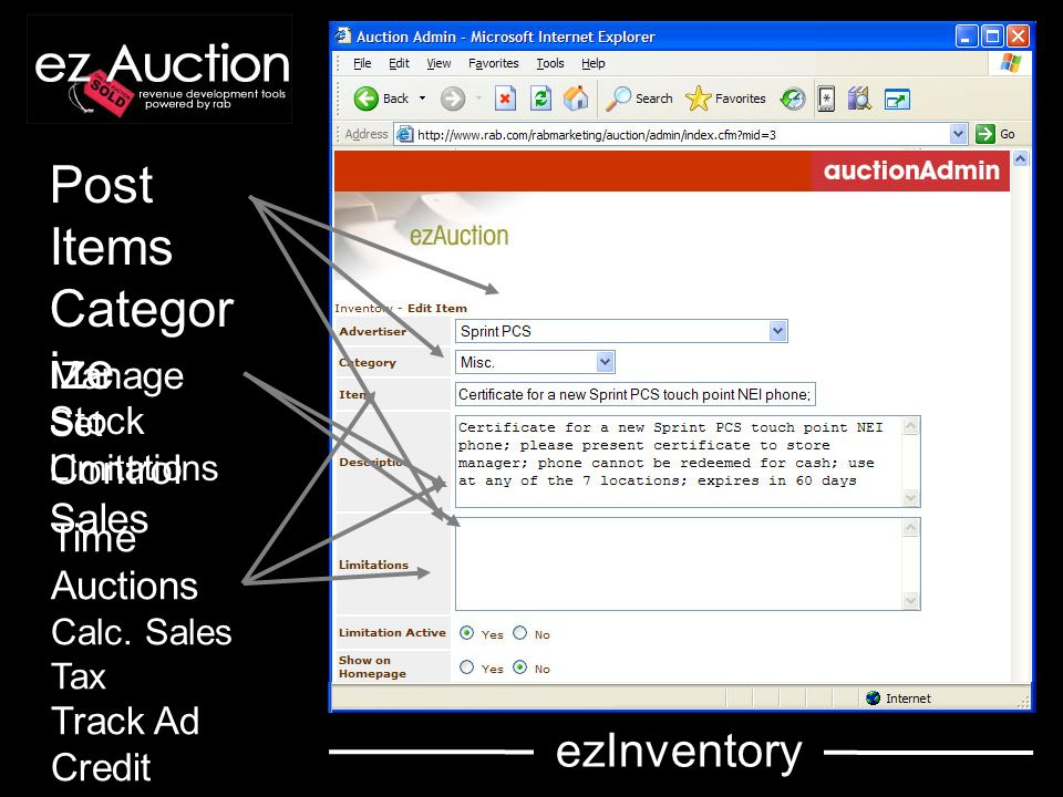 Post Items Categor ize Set Limitations Manage Stock Control Sales Time Auctions Calc.