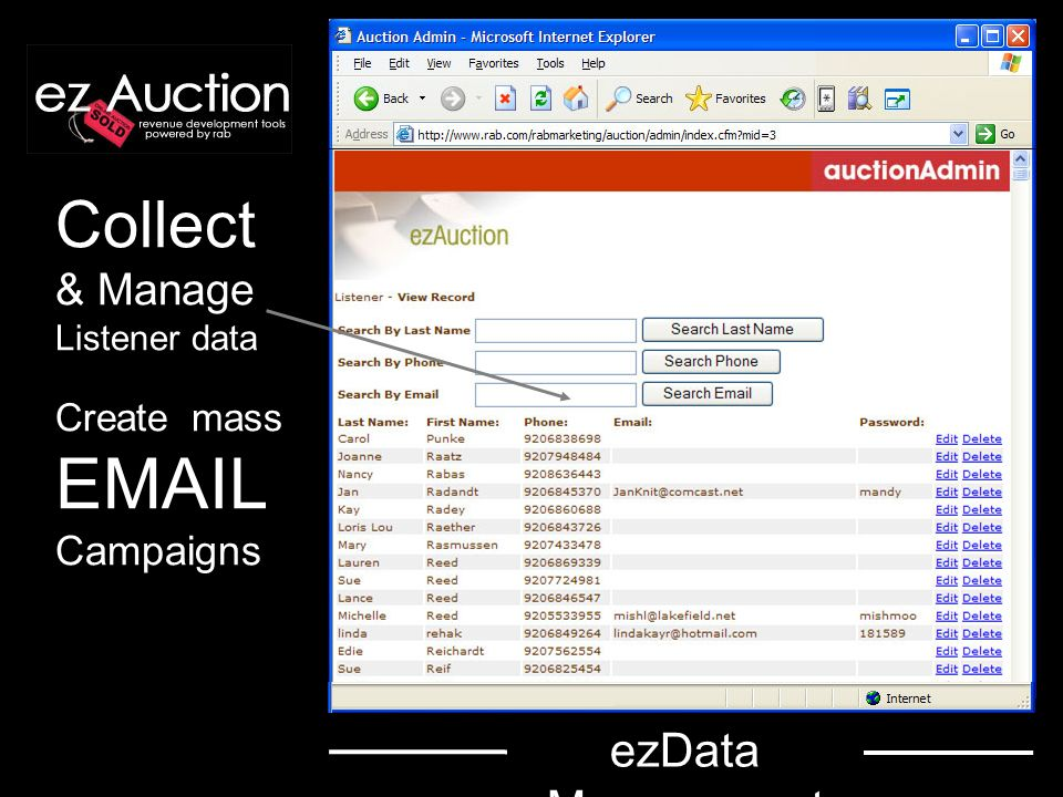 Collect & Manage Listener data Create mass EMAIL Campaigns ezData Management