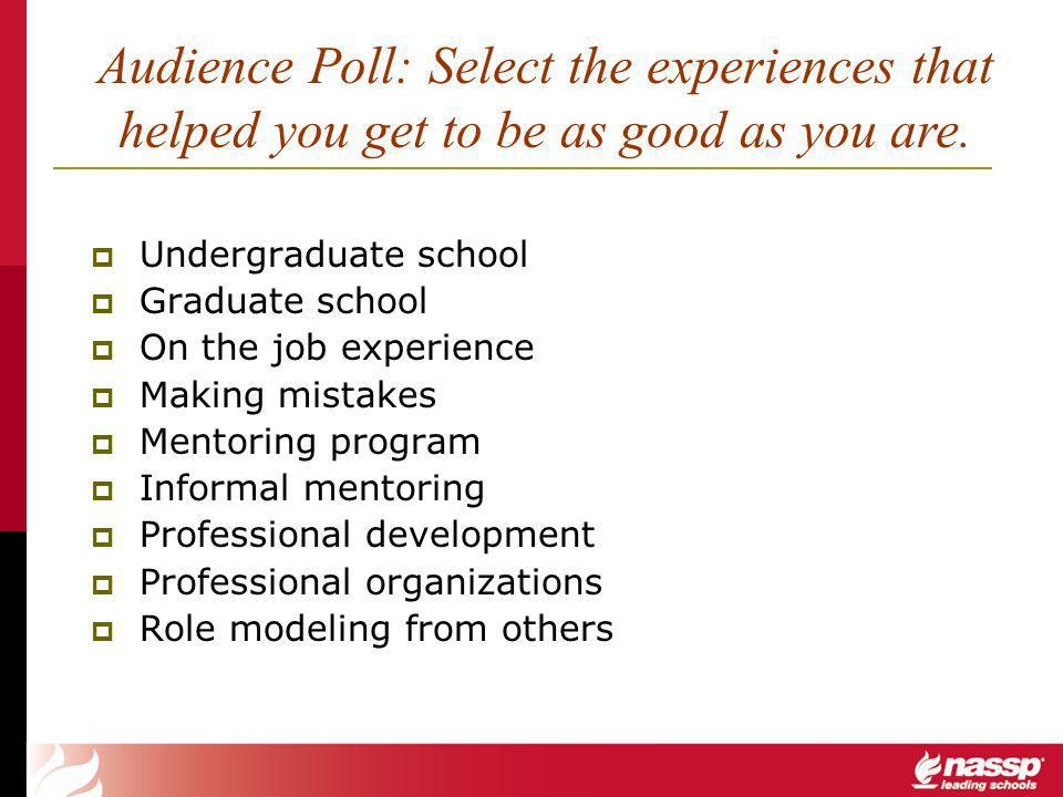 Undergraduate school Graduate school On the job experience Making mistakes Mentoring program Informal mentoring Professional development Professional organizations Role modeling from others Audience Poll: Select the experiences that helped you get to be as good as you are.