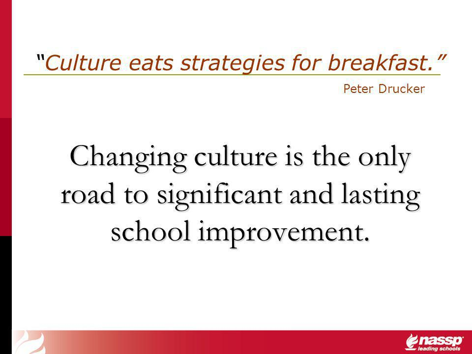 Changing culture is the only road to significant and lasting school improvement.