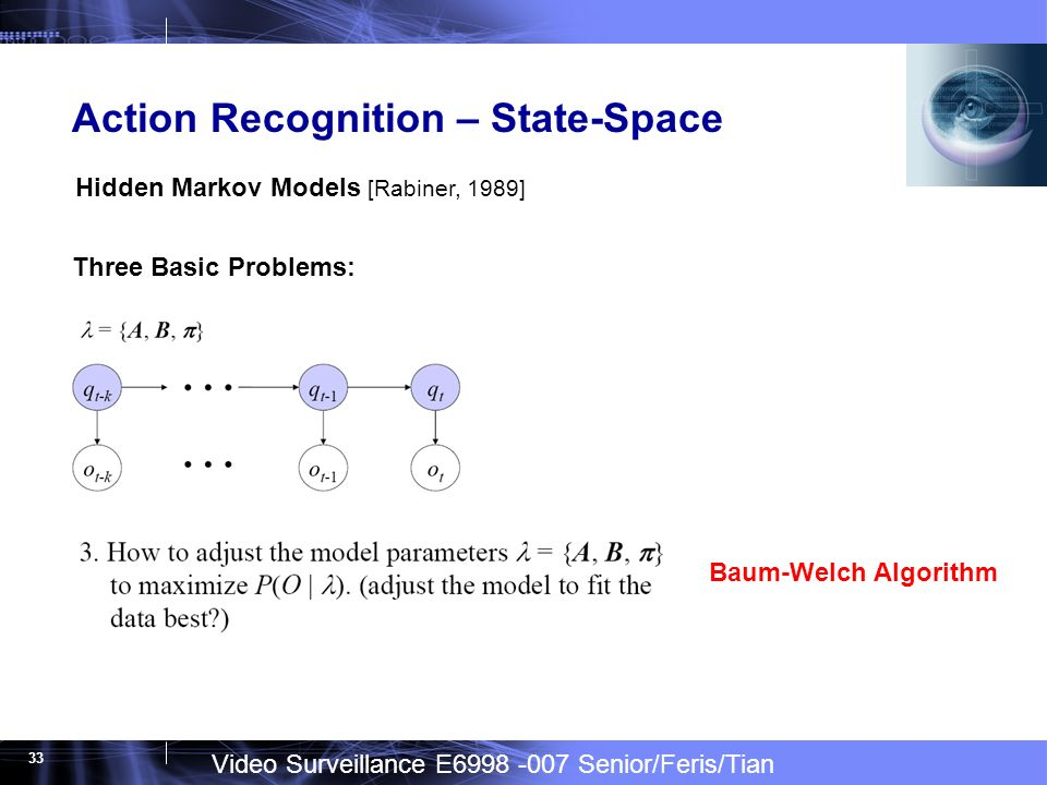 Video Surveillance E Senior/Feris/Tian 33 Action Recognition – State-Space Hidden Markov Models [Rabiner, 1989] Three Basic Problems: Baum-Welch Algorithm