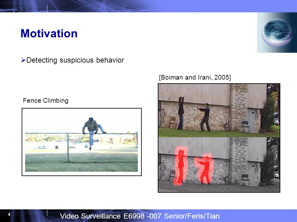 Video Surveillance E Senior/Feris/Tian 4 Motivation Detecting suspicious behavior [Boiman and Irani, 2005] Fence Climbing