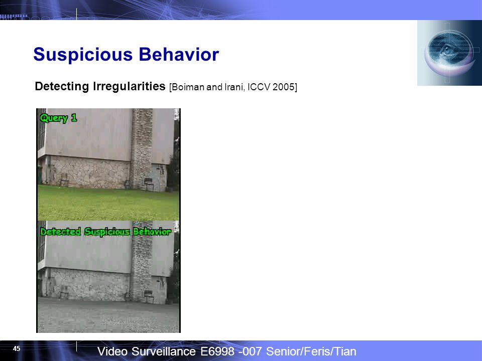 Video Surveillance E Senior/Feris/Tian 45 Suspicious Behavior Detecting Irregularities [Boiman and Irani, ICCV 2005]