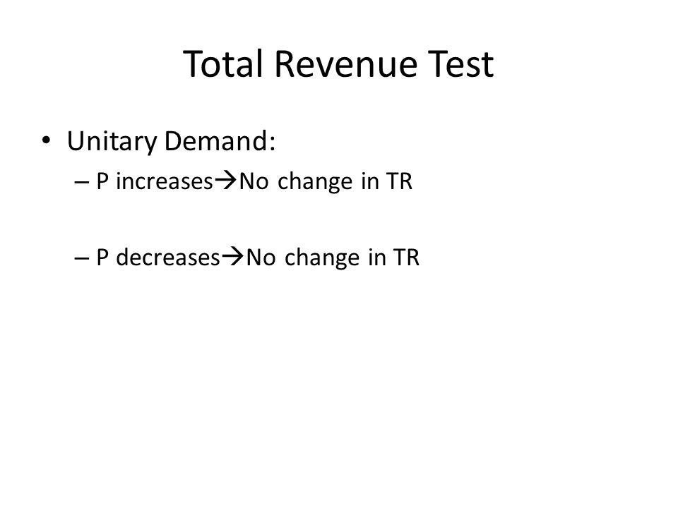 Total Revenue Test Unitary Demand: – P increases No change in TR – P decreases No change in TR