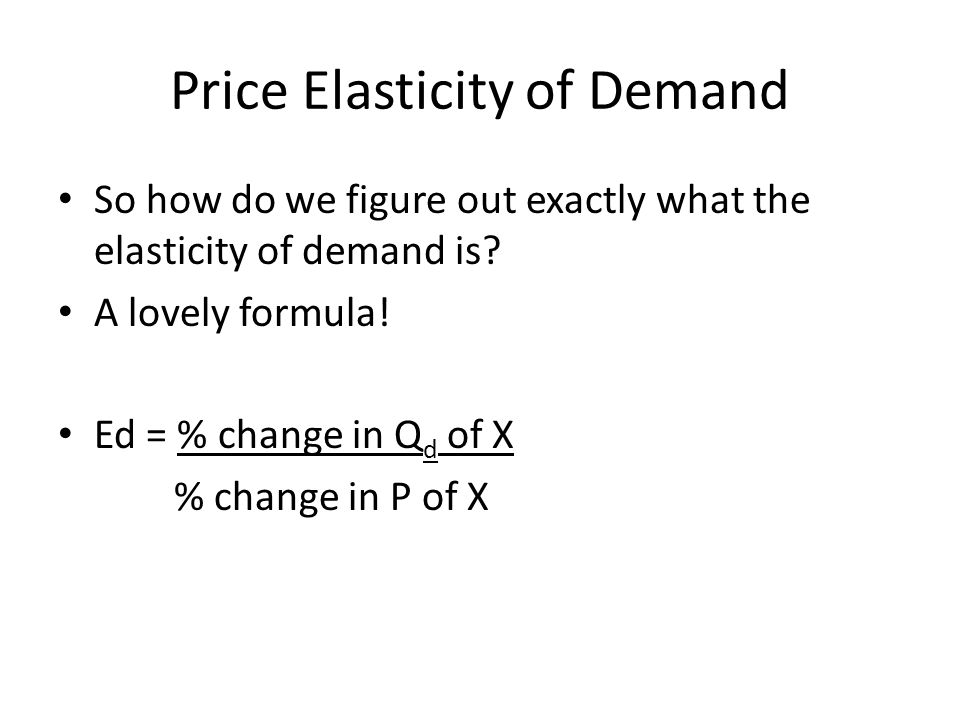 Price Elasticity of Demand Heres another way of looking at it.
