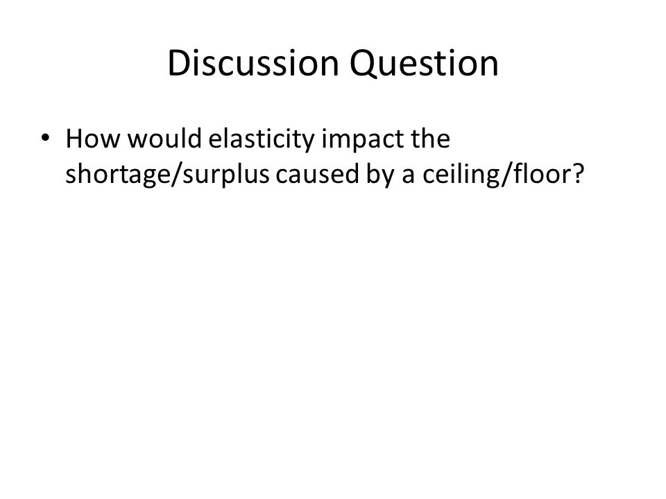 Discussion Question How would elasticity impact the shortage/surplus caused by a ceiling/floor?