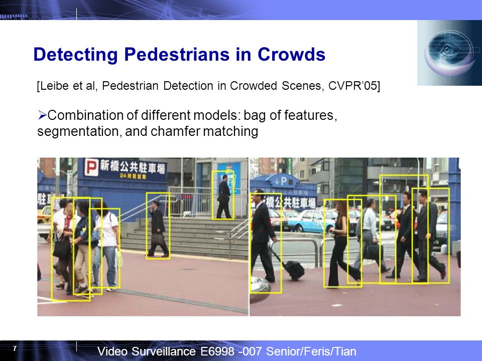 Video Surveillance E6998 -007 Senior/Feris/Tian 7 Detecting Pedestrians in Crowds [Leibe et al, Pedestrian Detection in Crowded Scenes, CVPR05] Combination of different models: bag of features, segmentation, and chamfer matching
