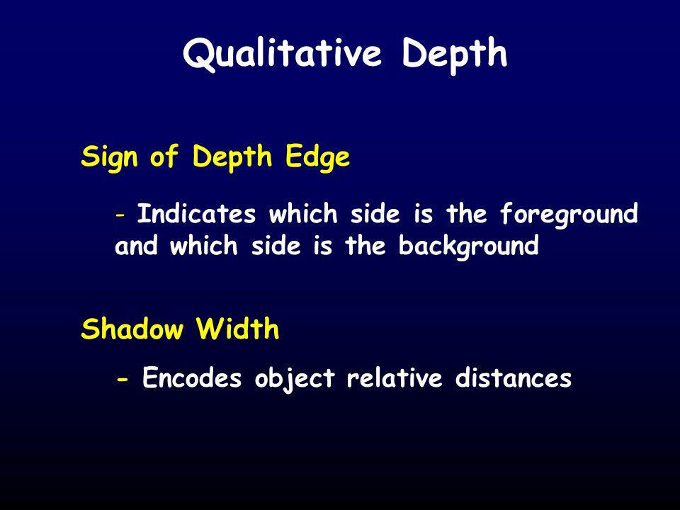 Qualitative Depth Sign of Depth Edge - Indicates which side is the foreground and which side is the background Shadow Width - Encodes object relative distances