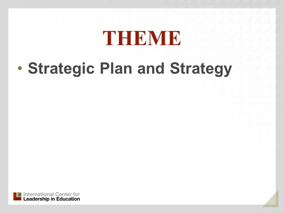 THEME Strategic Plan and Strategy