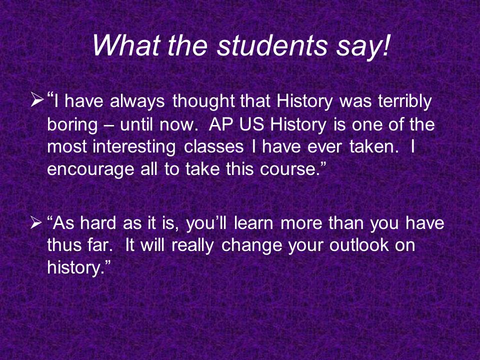 What the students say.This course requires an open mind and responsibility.