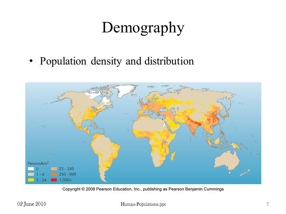 Demography Population density and distribution 02 June 2010 Human-Populations.ppt7
