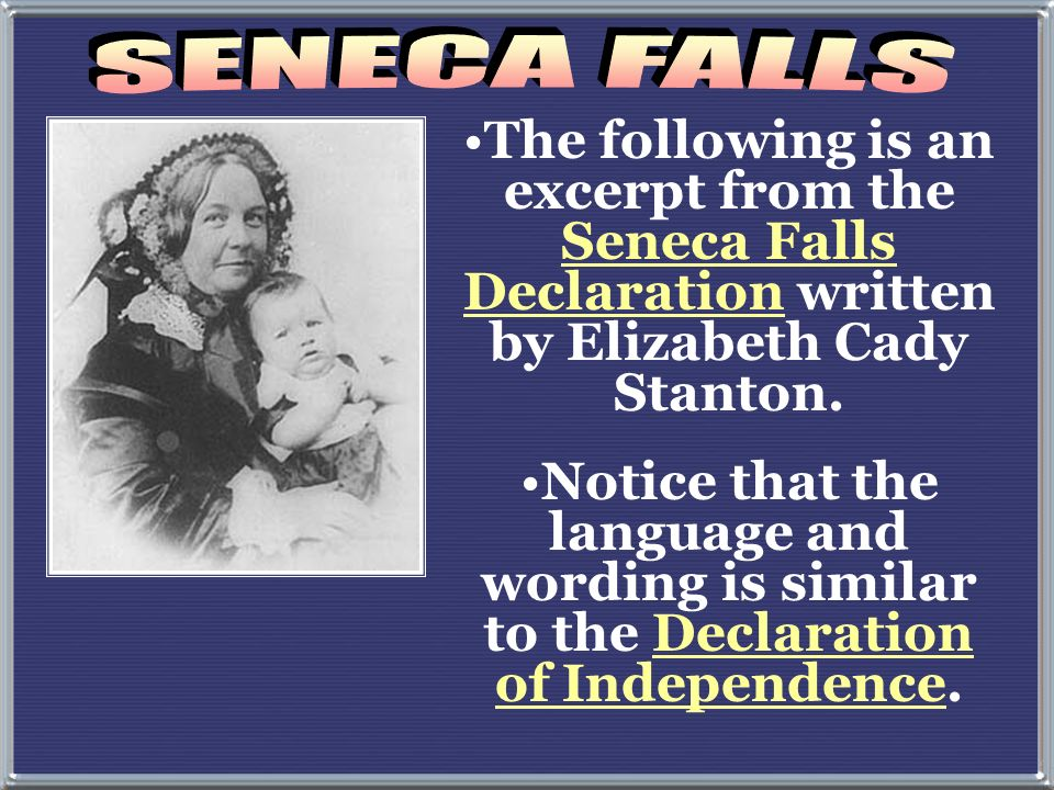 The first Womans rights movement was in Seneca Falls, New York in 1849…… Educational and professional opportunities Property rights Legal equality rep