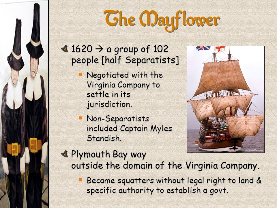 1620 a group of 102 people [half Separatists] Negotiated with the Virginia Company to settle in its jurisdiction. Negotiated with the Virginia Company